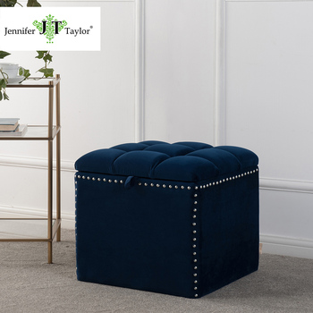 Modern Velvet Seating Storage Cube Ottoman Footstool With Rivet Navy Blue  Fabric Upholstery Foot Rest Stool