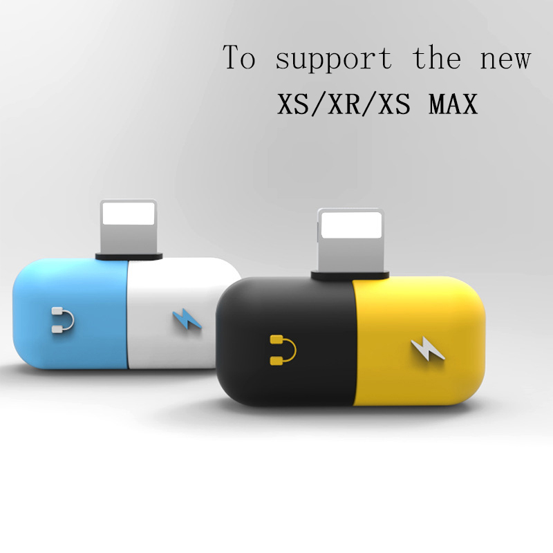 Newest Pill cable splitter adapter for 8/8 plus/X/Xs/Xr/Xs 2 in 1 adapter splitter  audio charge adapter