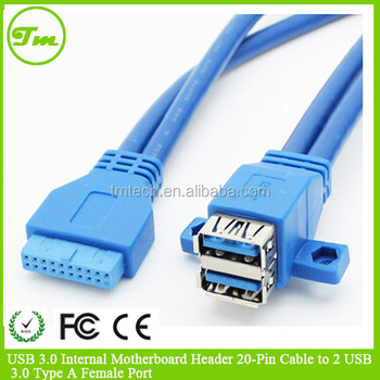 Usb 30 Internal Motherboard Header 20 Pin Cable To 2 Usb 30 Type A