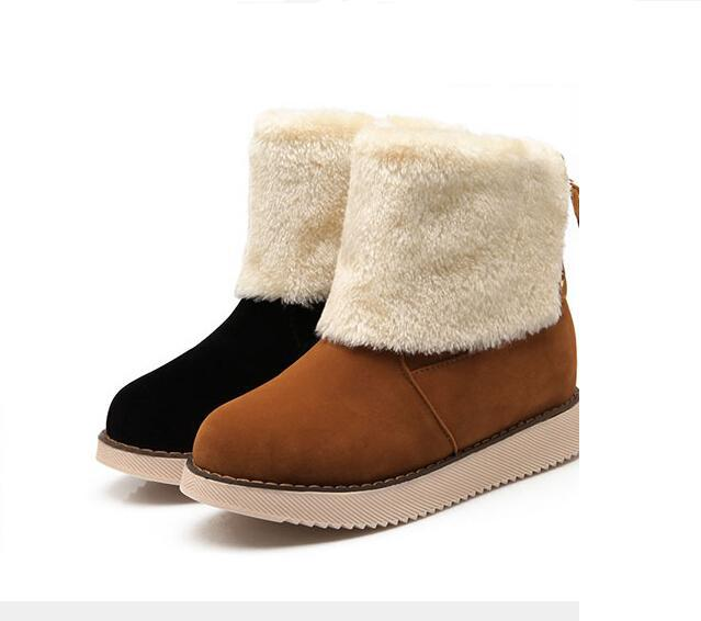 3579de21767f Get Quotations · Women ankle boots thickening winter snow boot warm shoes  flat casual plush women boots 06