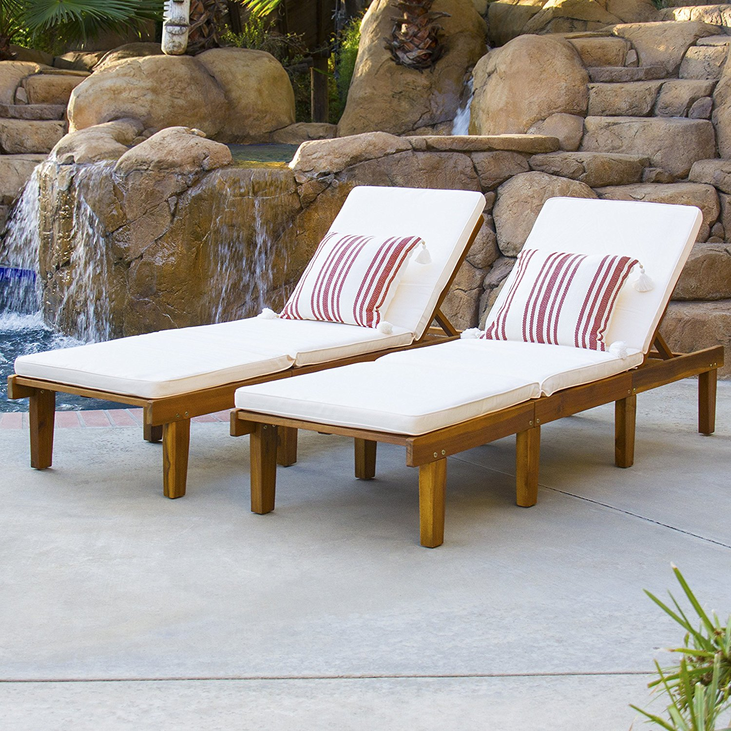 Patio Adjustable Wood Chaise Lounge, Set Of 2, White Weather Resistant Padded Cushions Included, Sturdy Construction, Comfortable, Ideal For Poolside, Garden, Porch, Outdoor Furniture + Expert Guide