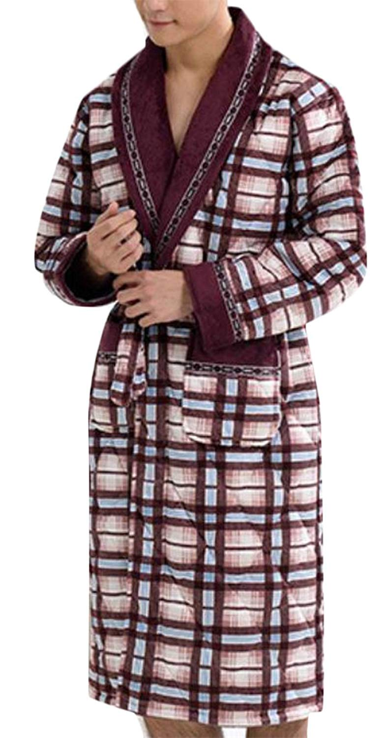 Pivaconis Mens Sleepwear Warm Thicken Flannel Kimono Bathrobe Loungewear Robe Sleep Lounge Robes