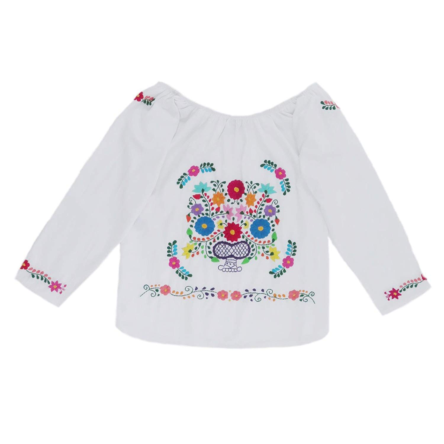 eaec7633e9b3d Get Quotations · Mexican Clothing Co Womens Mexican Blouse Elastic Shoulder  Tehuacan Manta CT