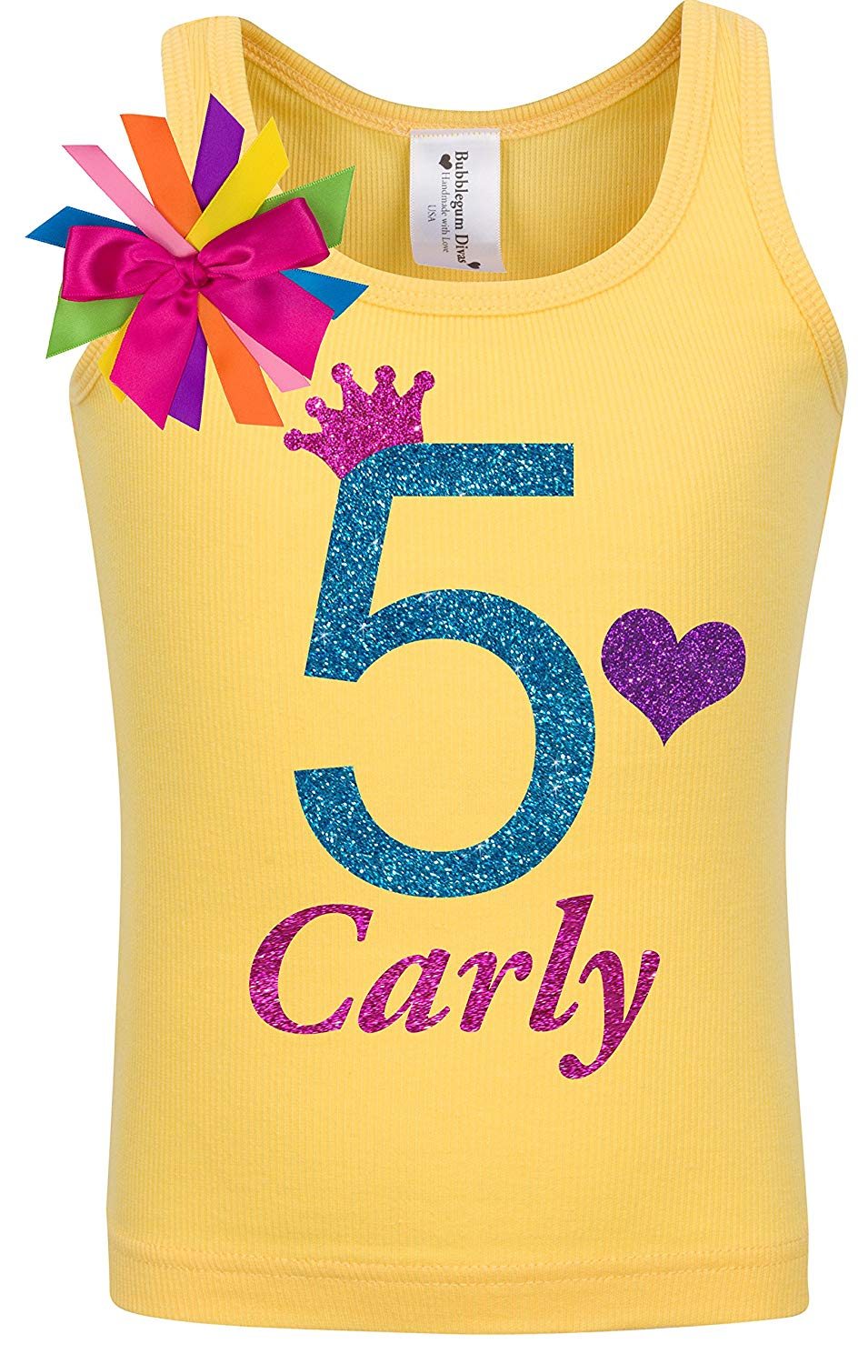 Bubblegum Divas Little Girls 2nd Birthday Yellow Princess Heart Shirt