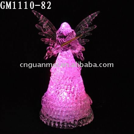 Wholesale Led lighted glass angel figurine with butterfly wings