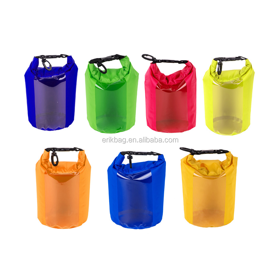 Roll top nylon stuff dry sacks with transparent window