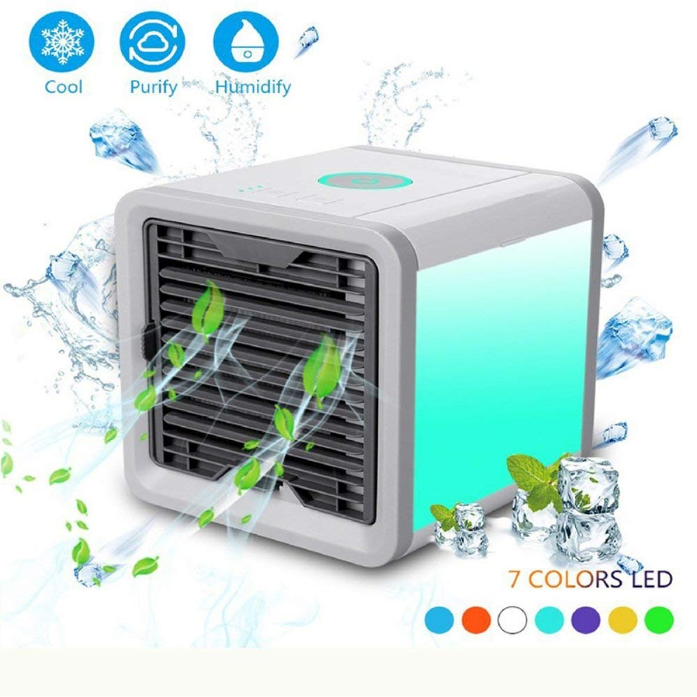 Wenasi Portable Air Cooler Mini Personal Space Air Conditioner Humidifier and Purifier, 3-in-1 USB Powered Desktop Cooling Fan with 7 Speeds and 6 Colors LED lights for Office Home Outdoor Travel