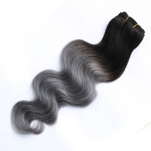 Factory price hair weft body wave virgin brazilian human hair ombre color gray hair weaving