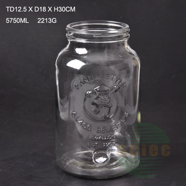 Large volume glass dispenser bottle with screw cap and tap