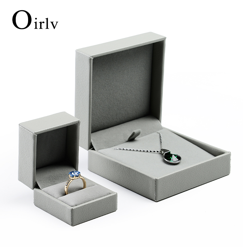 Wholesale Custom Logo Necklace Packaging Box wrapped Gray PU Leather and Velvet Insert Pendant Ring Jewelry Boxes