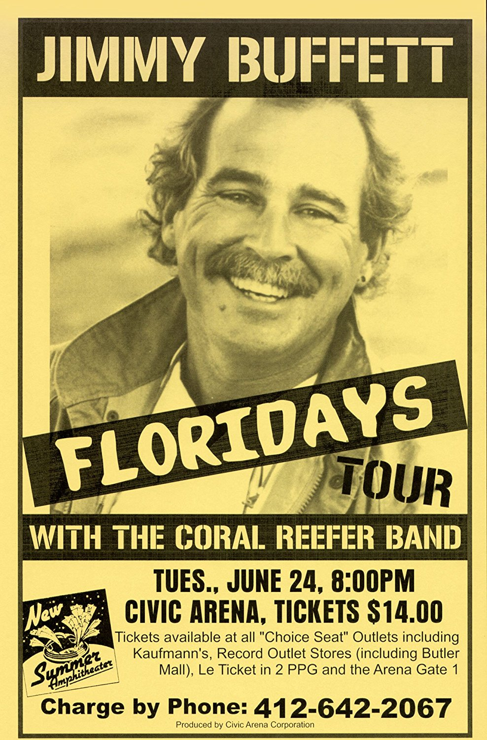 Jimmy Buffett Floriday's 1986 Retro Art Print — Poster Size — Print of Retro Concert Poster — Features Jimmy Buffett and the Coral Reefer Band.