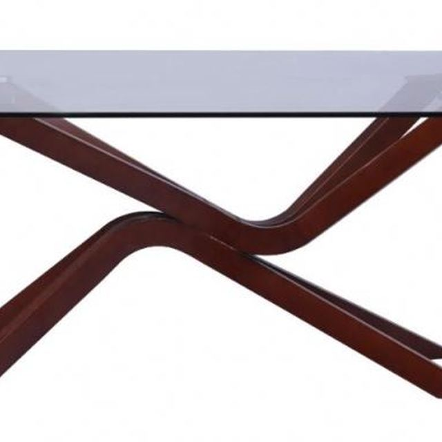 modern heat selling wood table with glass top