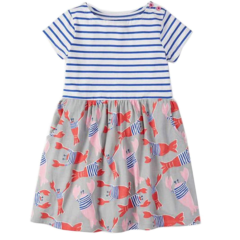 BEILEI CREATIONS Baby Girl Cotton Dress Cartoon Flowers Pattern Kids Summer Dress 2-7T