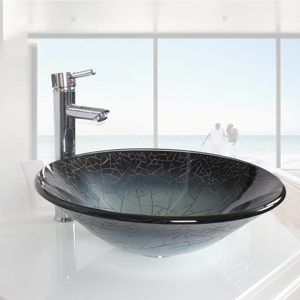 YiXinZhaiPei Grey ice crack Round Contemporary Bathroom Tempered Glass Sink Set