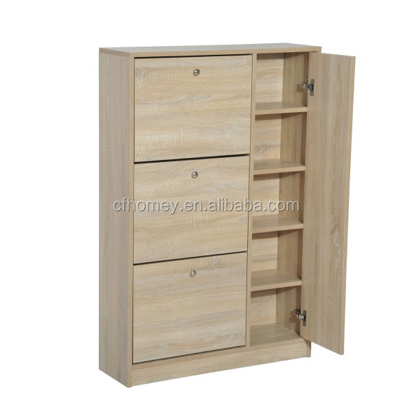 Rotating 3 doors shoe cabinet for home