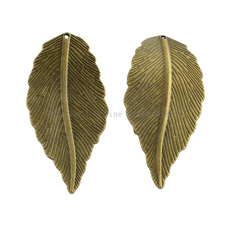 Tibetan Style Alloy Leaf Big Pendants, Cadmium Free & Nickel Free & Lead Free, Antique Bronze, 68x29x3mm, Hole: 2mm; about