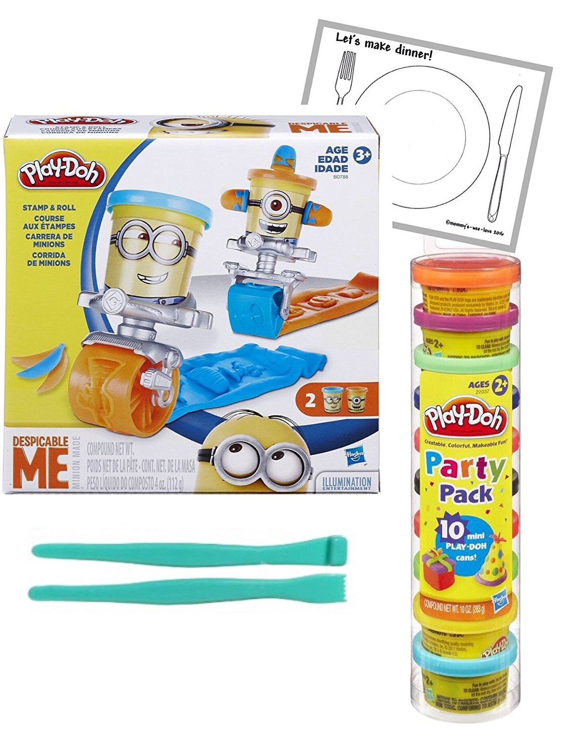 Play-Doh Featuring Despicable Me Minions Stamp and Roll Set & Play-Doh Party Pack Tube Bundle Set ~ Bonus 2pc Modelling tools & Laminated Playmat
