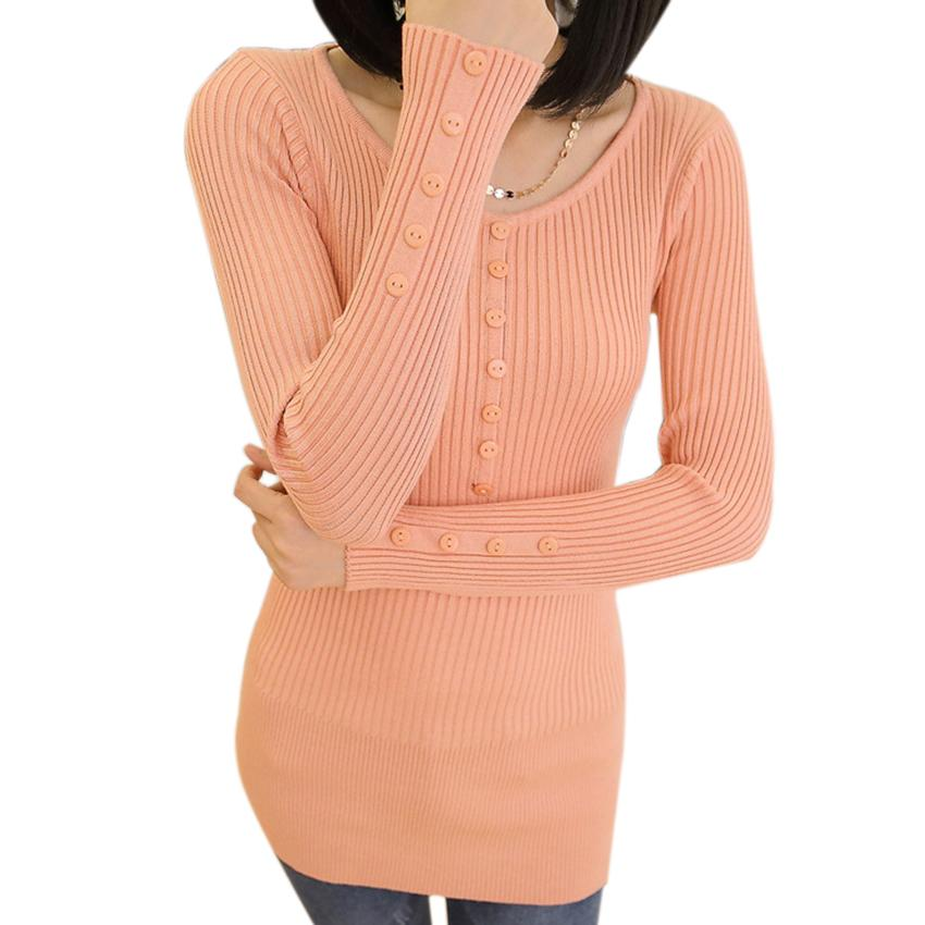 2015 Candy Color Button Women Sweaters And Pullovers Fashion Autumn Winter Long Knitted Slim Sweater Dress Ladies Tops Knitwear