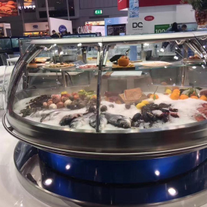 Dingfeng customized blue light stainless steel ice case round shape beautiful seafood fish display table