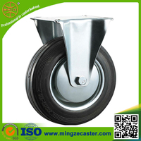 Heavy duty 6inch fixed rubbish bin rubber wheel