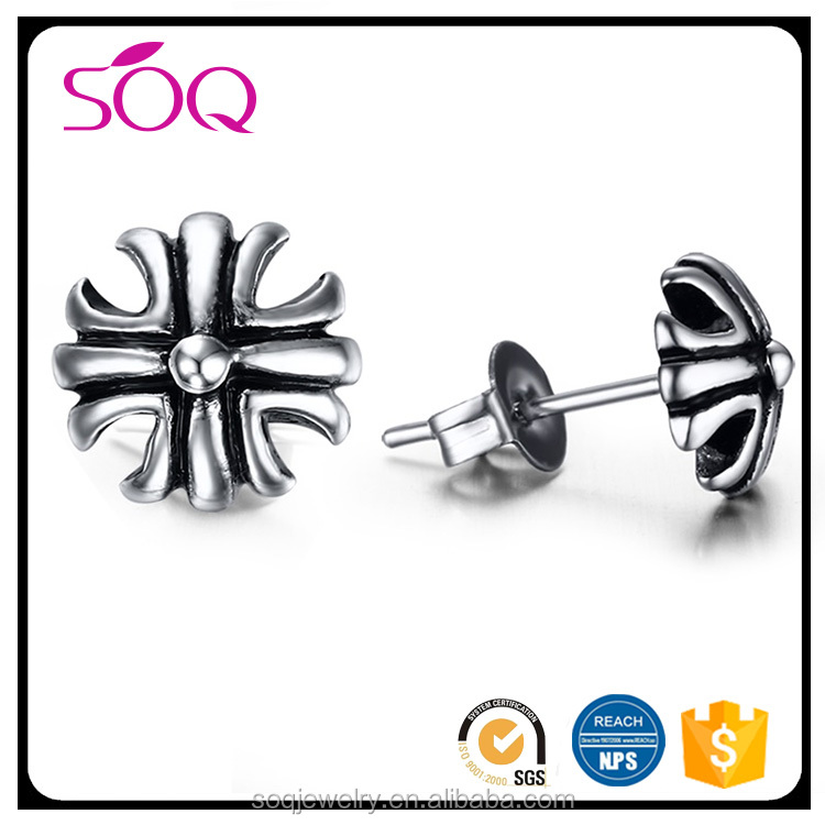Fashion jewelry Stainless steel cast cross earrings novelty christmas earrings