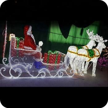 3d Weihnachtsbeleuchtung.Beleuchtungsrotwild Des Weihnachten 3d Führte Beleuchteten Sankt Pferdeschlitten Und Rotwild Im Freien Buy Outdoor Santa Und Schlitten 3d