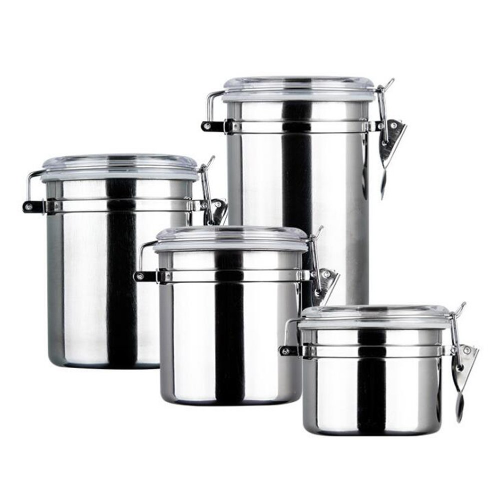 Get Quotations Coffee Canister 4 Piece Stainless Steel Container Set Clamp Air Tea Storage