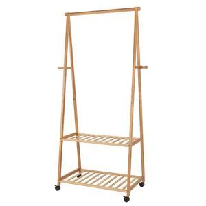 Bamboo Clothes Rack on Wheels Rolling Garment Rack with 2-Tier Storage Shelves