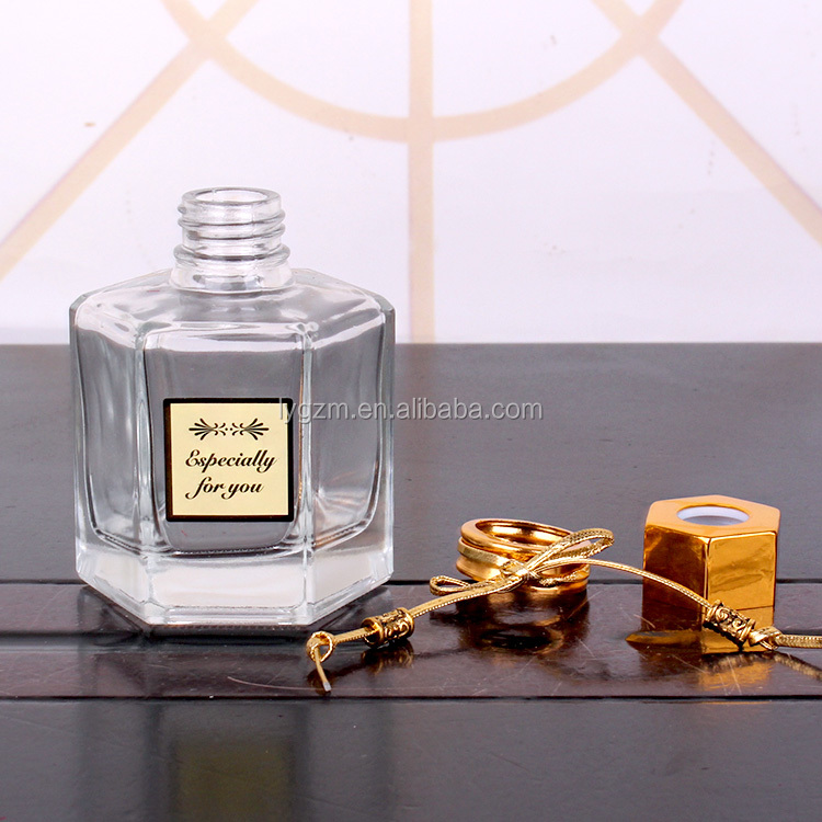 120ml Hexagon shape clear empty aroma reed diffuser glass bottle with screw cap