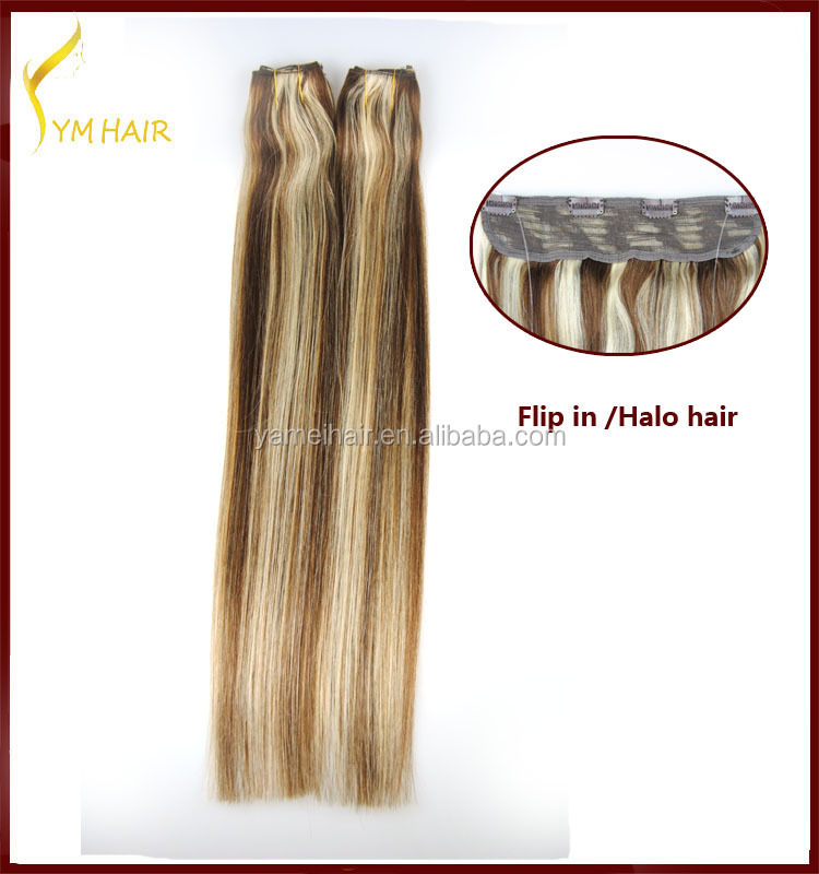 Top quality China supplier flip hair extension with clips 100g 120g 100% remy human halo hair extension