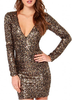 B32372A Women Latest Sexy Vintage Evening Bandage Bodycon Party Gold Sequins Dress