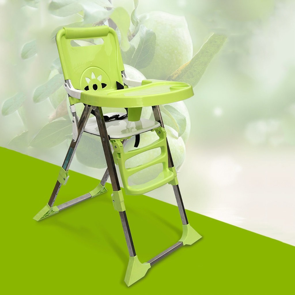 Portable Baby Highchair, Baby Highchair Feeding Lounge Chair, Plastic Folding Children Chair, Multifunctional Dining Chair, L48.5cmW64 H102cm ( Color : Green )