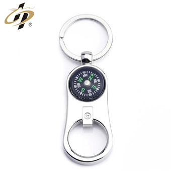 Wholesale cheap custom metal bottle opener compass keychain
