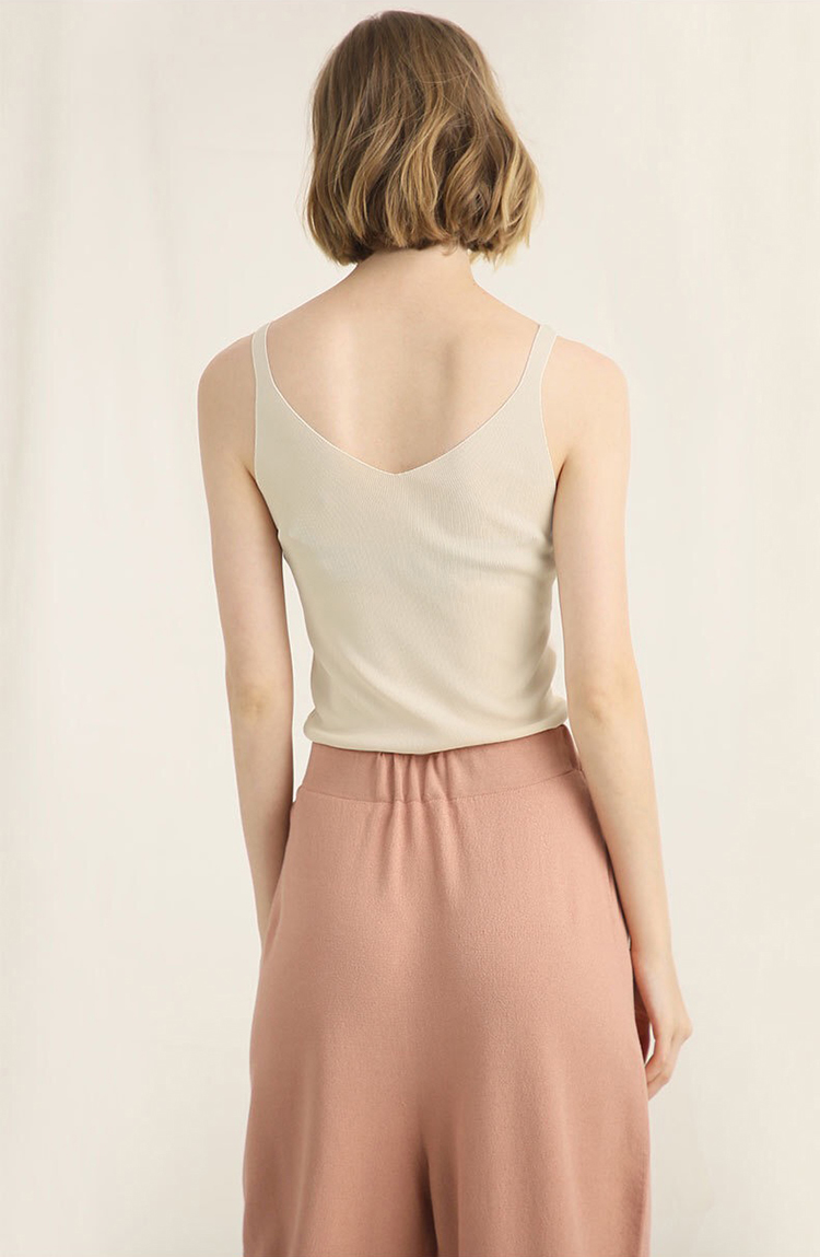 High Quality Sleeveless Knitted Plain Tops Blouse Ladies Vest for Summer