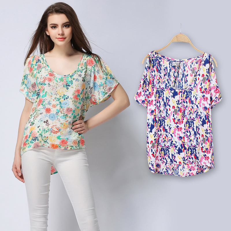 4fa56d47290 Summer Style Print Chiffon Blouse Shirts Women Tops Floral Blouses Shirts  Ladies O Neck Short .
