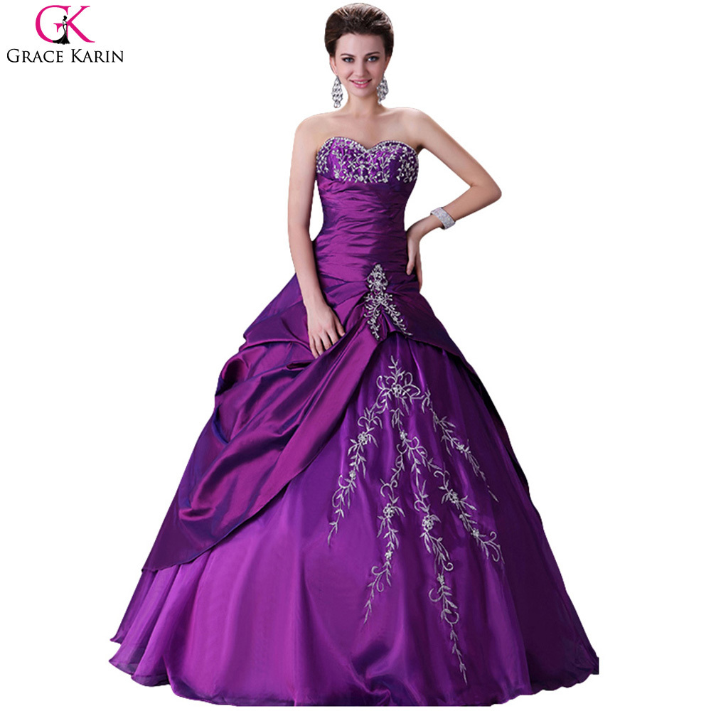 Elegant Vintage Design Grace Karin Lace Up Ball Gown Purple Wedding Dresses 2017 Weddingdress Formal