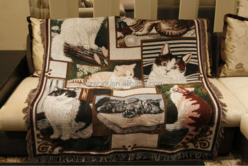 Cats Cotton Jacquard Woven Sofa Throws Blanket With Custom Pattern