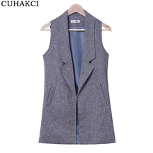 Covers Feminino Turn-down Collar Coats Slim Shirt Elegant Sleeveless Women Coats Office Vest Long Casual