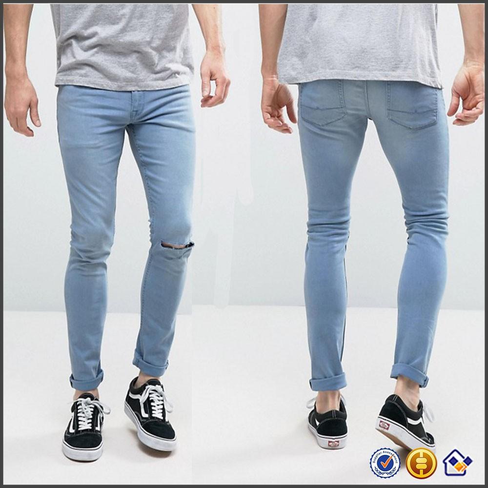 53f1c21ab Ky 2017 hombres nueva llegada de la manera cremallera sola rodilla ripped  lavado azul claro calidad