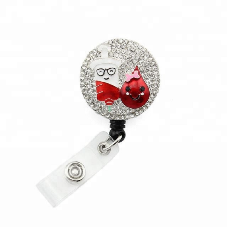 Medizinische Teardrop Spritze Strass Retractable Reel / ID Badge Holder
