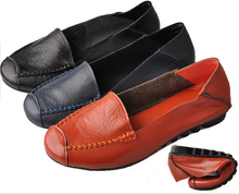 Women Genuine Leather Mother Shoes Big Size(35~43) New 2015 Moccasins Women's Soft Leisure Female Driving Shoe Flat Loafers