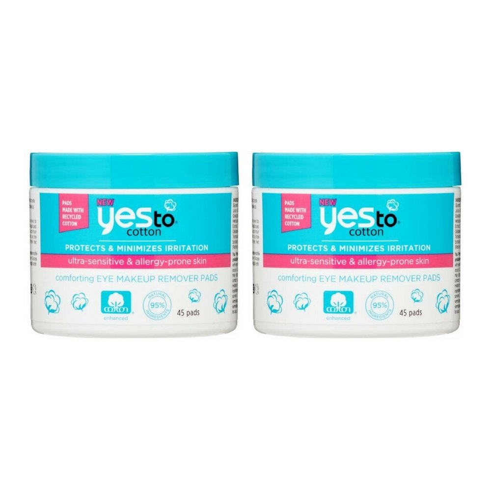Yes To Cotton Comforting Eye Makeup Remover Pads, 45 Count (2pack)