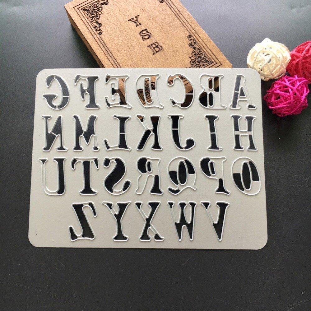 lavenz 165x130mm letter stencils metal cutting dies for diy scrapbooking paper card craft snijmal en embossing