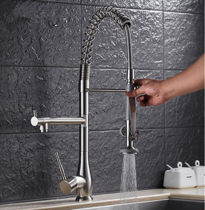 Brushed nickel brass single handle 3 ways flexible hose kitchen faucet hot sale deck mounted pull kitchen mixer tap