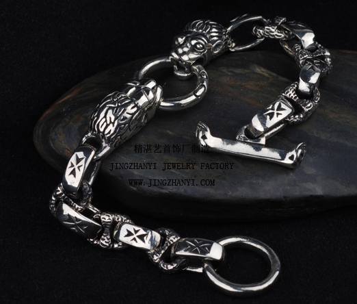 Antique Silver Dragon Bracelet For Men