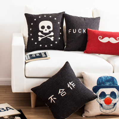 Free shipping throw pillow wedding decor linen fabric gift Hot sale 100% new 45cm Skull pirate gothic sofa cotton cushion cover