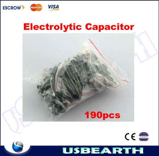 TOP quality !!! 190PCS/set Aluminum Electrolytic Capacitor Assortment kit, 19 kinds of common used type capacitance