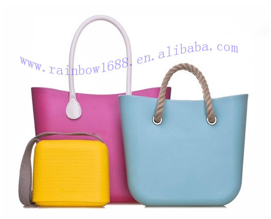 2015 New Arrival Women Silicone Jelly Beach Tote Bag Clear Handbag
