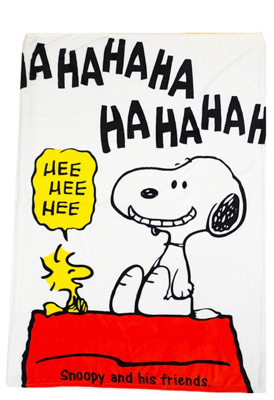 "Peanuts Snoopy Fluffy Nap Soft Blanket 40""x 60"" (100cm x 150cm). (white)"