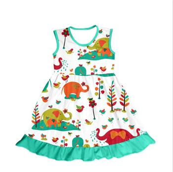 hot selling toddler girls' dresses lovely elephant printed wholesale children's clothes